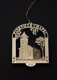 A souvenir ornament of Pineville Chapel, perfectly fit for the Christmas Trees made of pine.