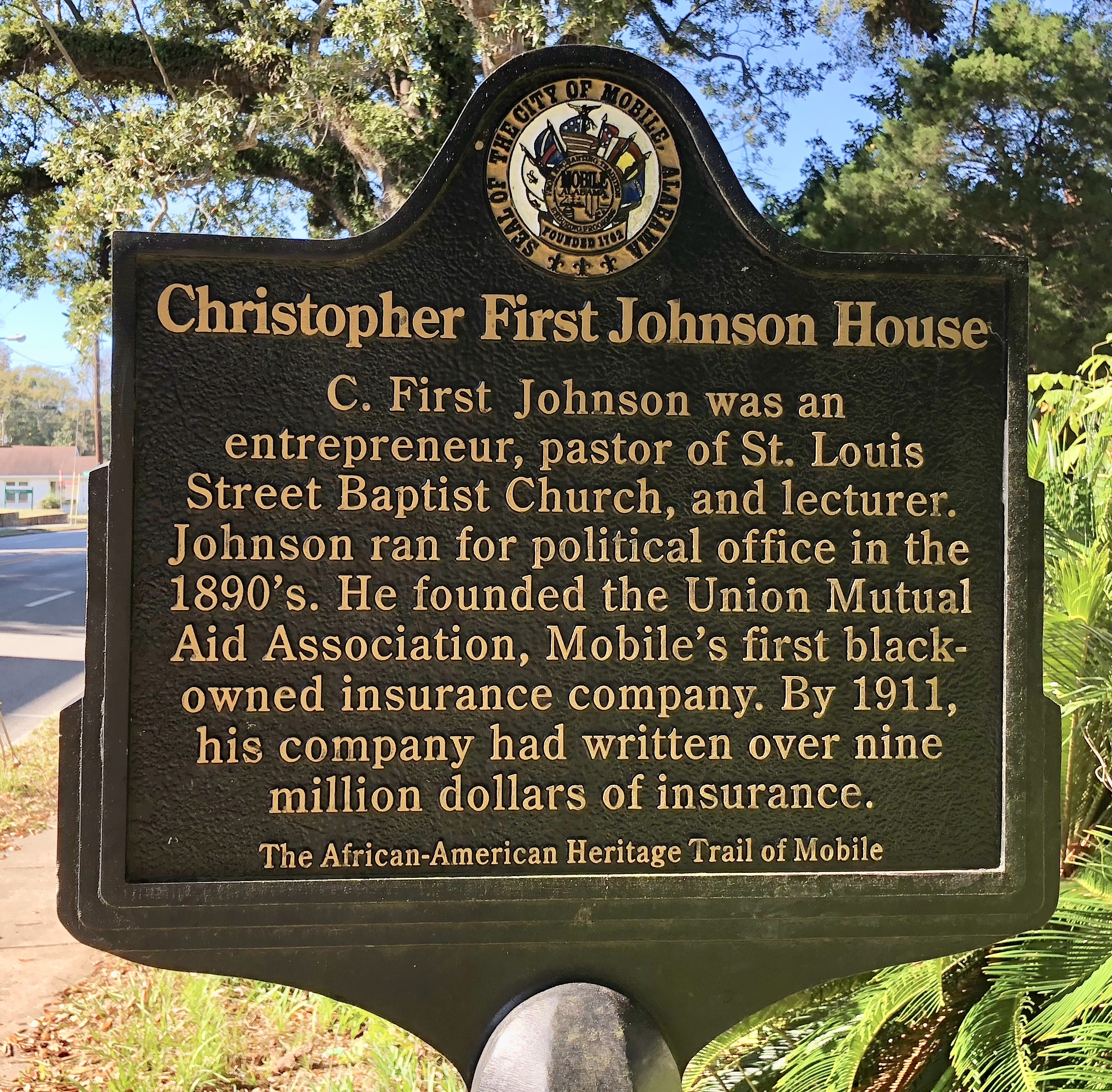 Historical Marker:  Christopher First Johnson House