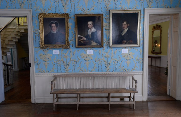 Paintings of Knox family members on display in the museum. (Photo Courtesy of Shawn Patrick Ouellette, contributor to the Portland Press Herald)