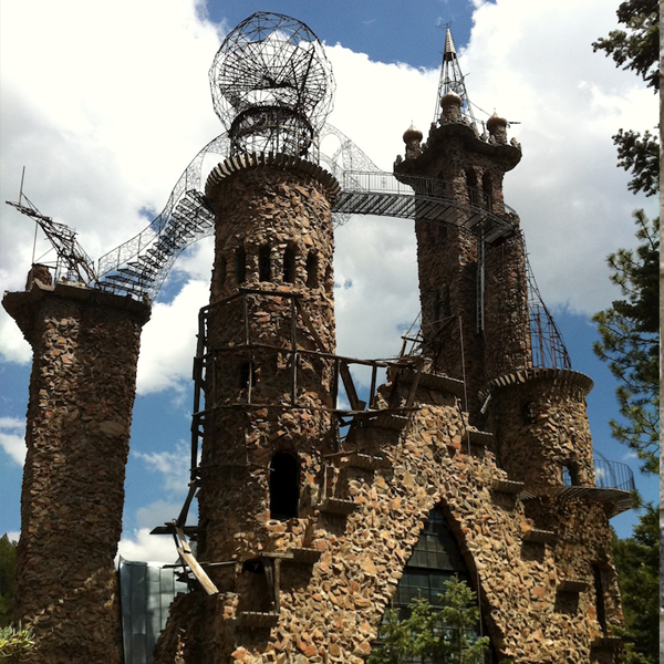 The towers and balconies of Bishop Castle, which are the most recent additions to the building. These towers inspired Jim to build another tower outside the property and connect it to the castle with a bridge.