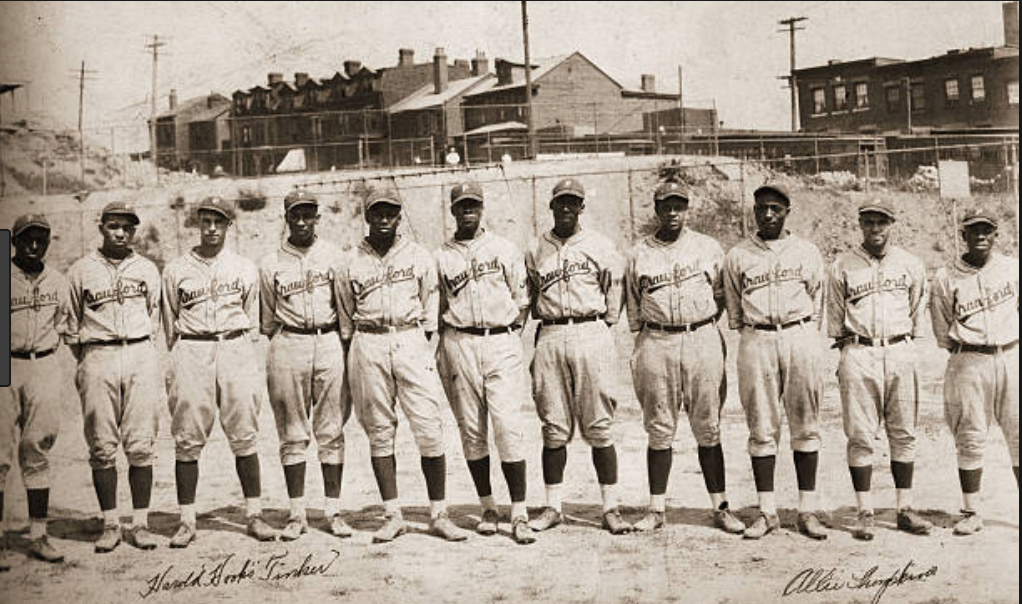 Some of the players of the Pittsburgh Crawfords at Ammon Field.