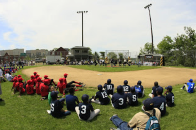 Youth baseball players at Josh Gibon Field.