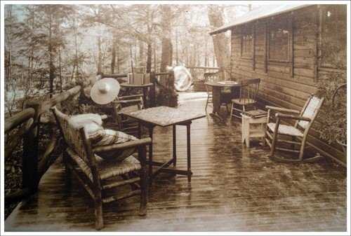 Hoover's Patio with Log Cabin in Background