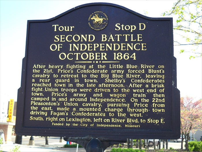 Battle marker near the Independence city center, fourth of six markers pinpointing places of historical significance in the two back-to-back battles of Little Blue River and Independence.