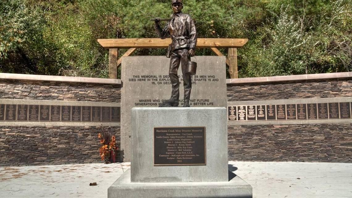 The Hurricane Creek Mine Disaster Memorial in Hyden, Kentucky