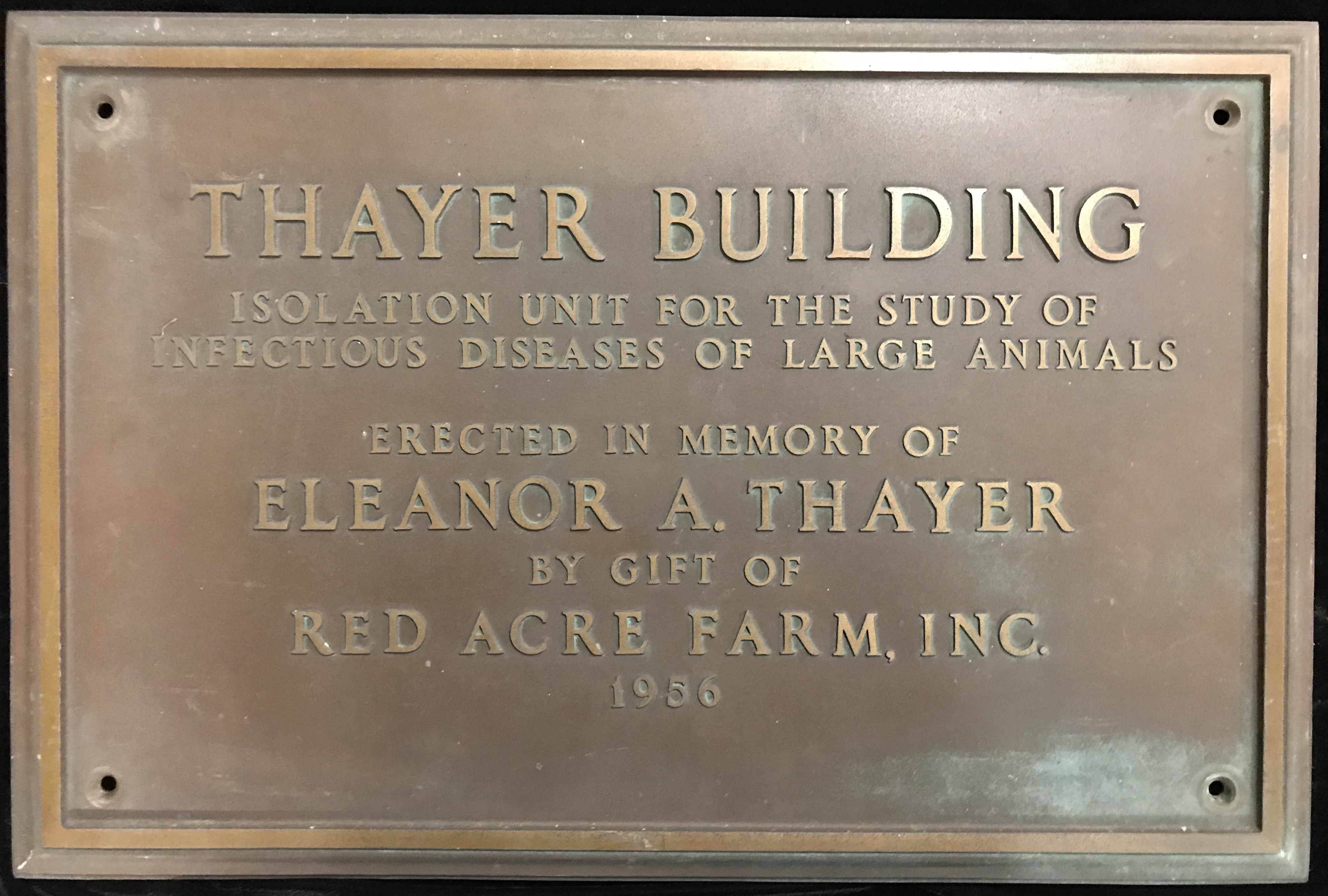 Thayer Building, dedication plaque.