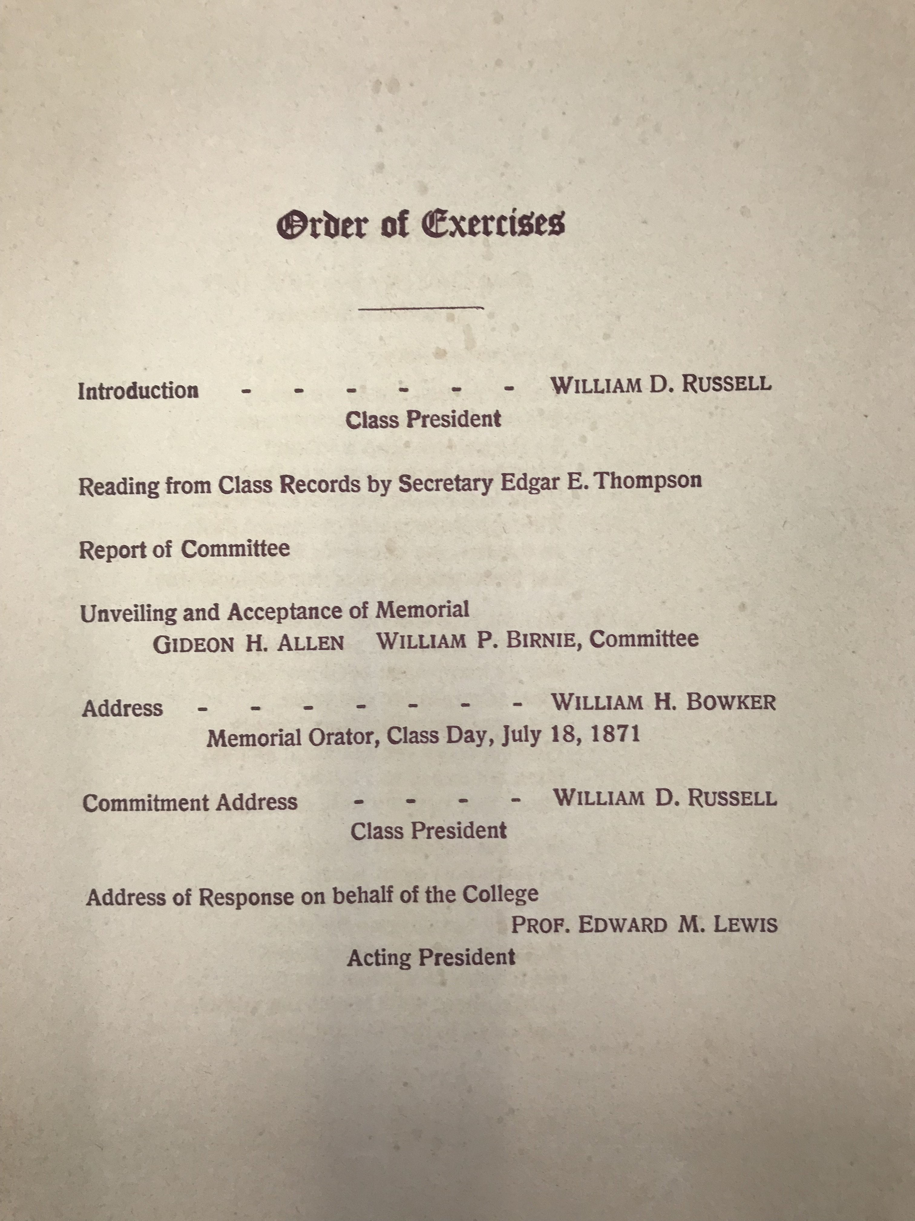 1913 Dedication Program, inside right, from Physical Plant: Subject Files, University Archives (RG 36/50).