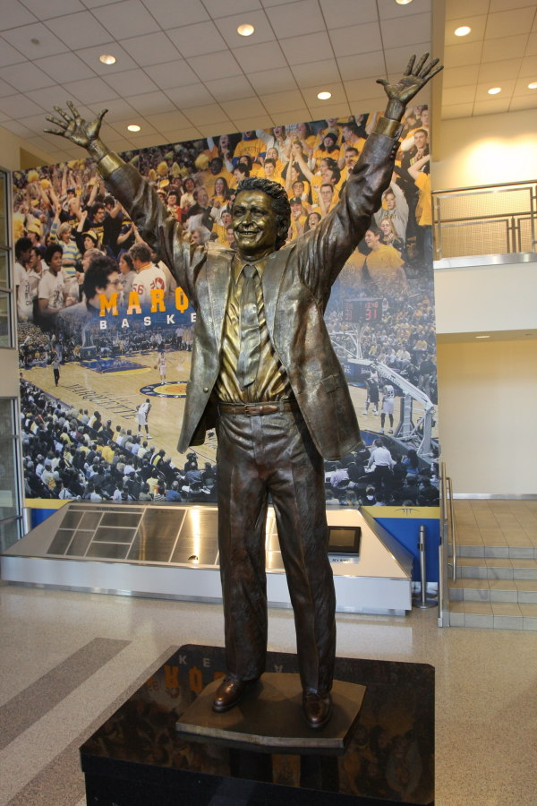 Statue of Al McGuire in the lobby of the Al McGuire Center. 