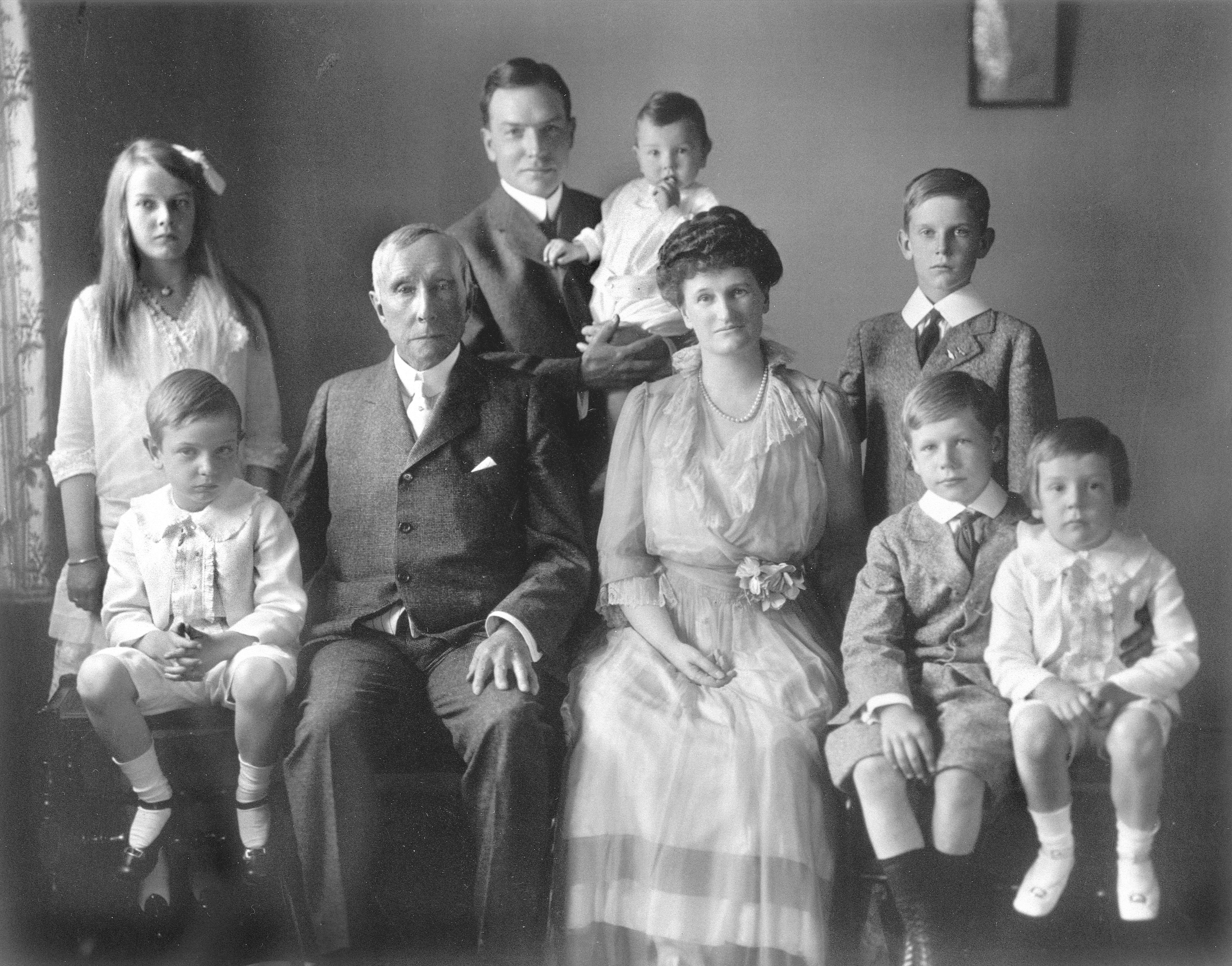 John D. Rockefeller Sr with John D. Jr and family