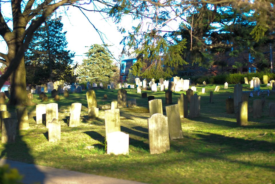 Gravestones at the White Plains Presbyterian Church Cemetery.