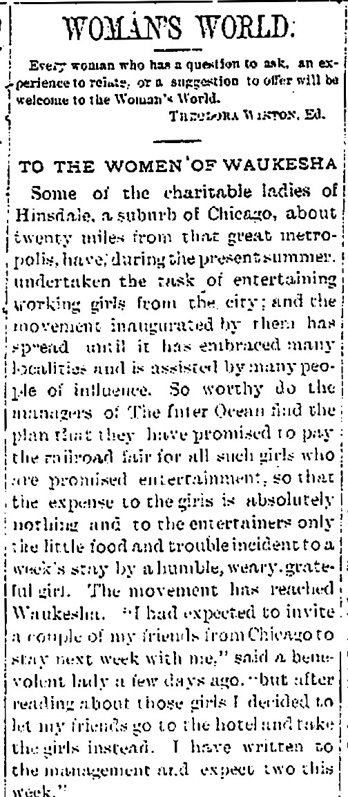 "An article by Theodora Winton Youmans in the ""Waukesha Freeman,"" August 16, 1888."