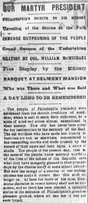 The Philadelphia Inquirer reported the event in grand fashion, including all the speeches and names of the dignitaries in a full page story in its Saturday, 23 September 1871 edition