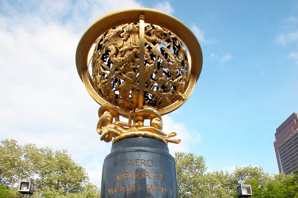 The bronze sphere opposite the main entrance of the Franklin Institute is dedicated to the aviators who died in World War I.