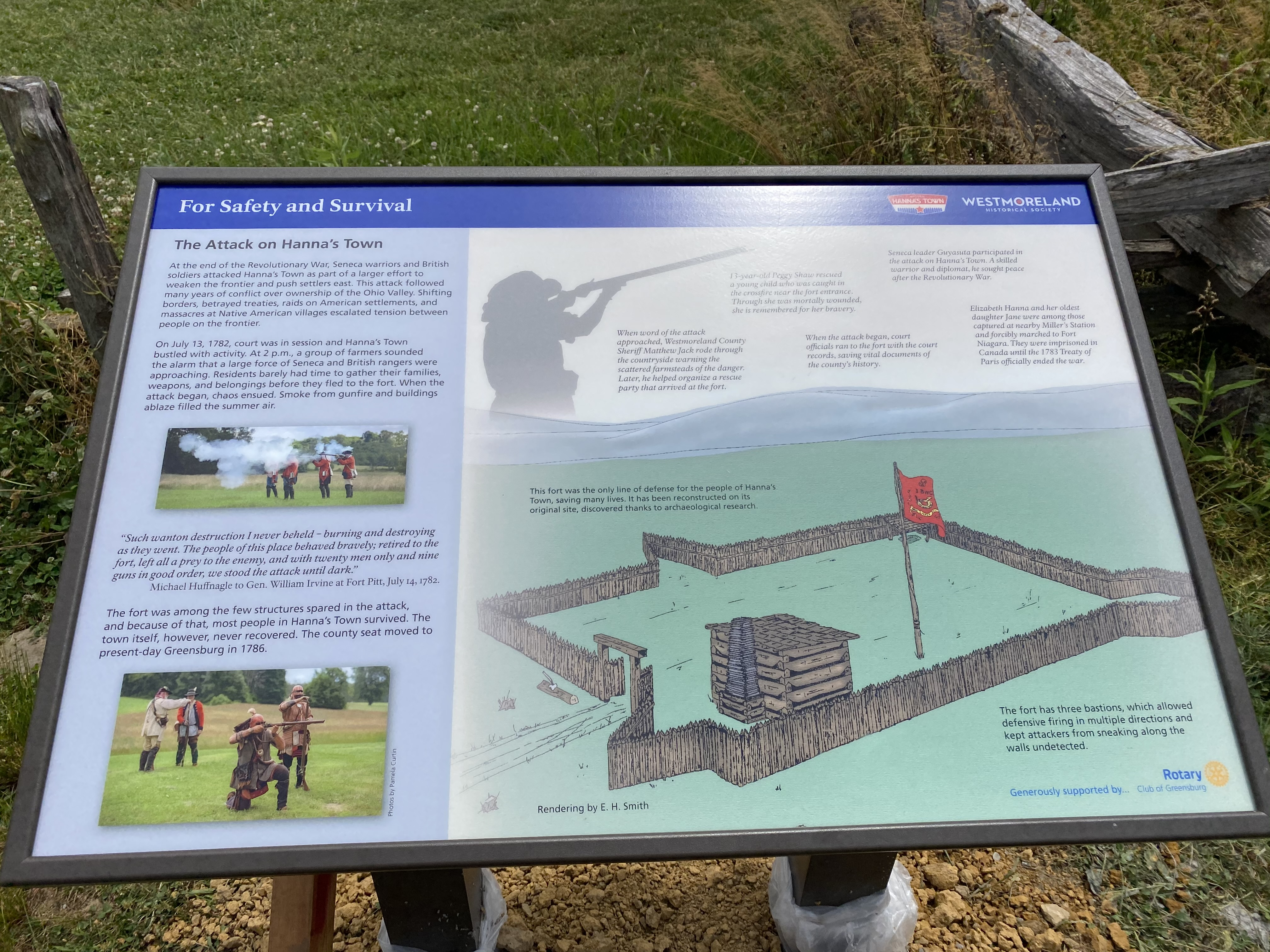 Interpretive Sign of the attack on Hanna's Town