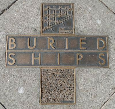 Buried Ships Historical Marker, placed in the sidewalk near The Embarcadero and Union Street