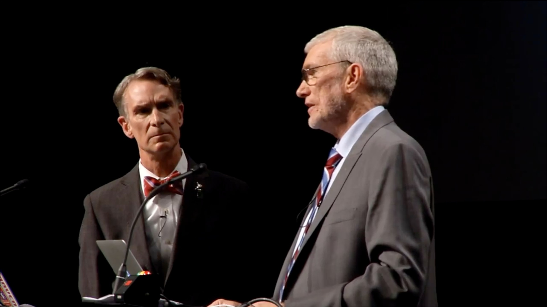 Bill Nye (left) and Ken Ham (right) debate
