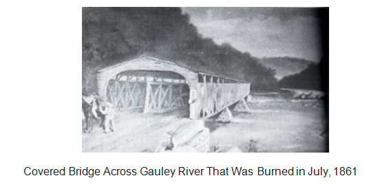 Gauley Bridge before it was burned by Confederate soldiers in July of 1861