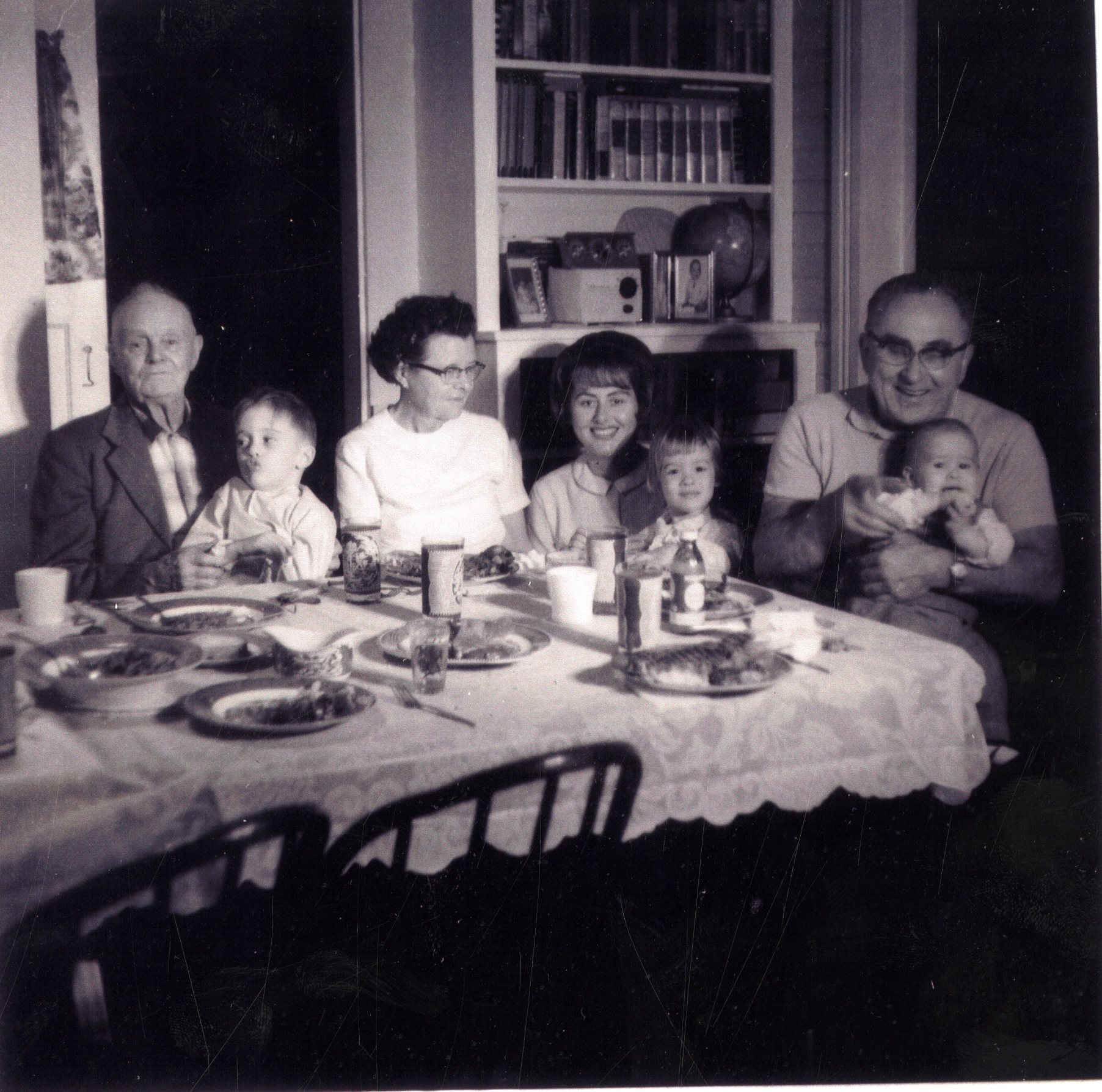 Van Hooser and Fullop Families having Sunday dinner in the Greenwood House, Clearwater, Florida, circa 1967.