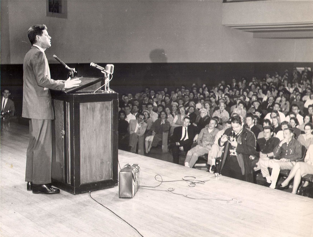 JFK addresses a crowd at Geary Student Union of the former Morris Harvey College