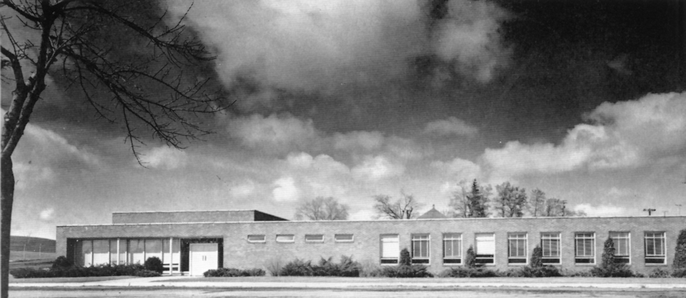 Rowles Hall under a dramatic sky 1958