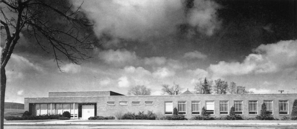 Rowles Hall under a dramatic sky 1958