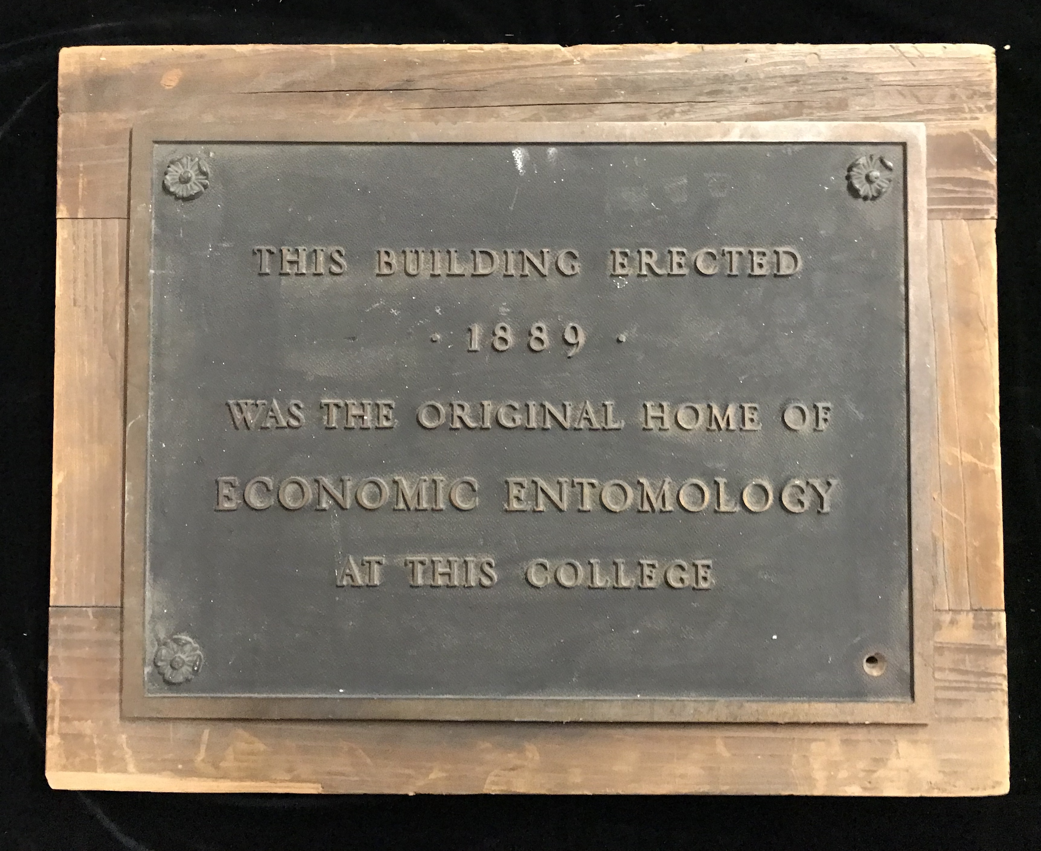 Economic Entomology plaque, ca 1938.