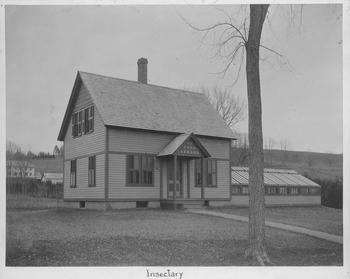 Lovell, J. L. (John Lyman), 1825-1903. Insectary with attached greenhouse, ca. 1890.