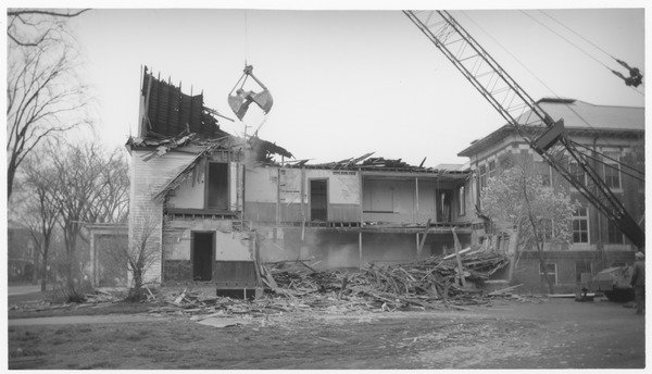 Becker, William B. (photographer). Wrecking of the Mathematics Building (formerly the Entomology Building), ca. 1965.