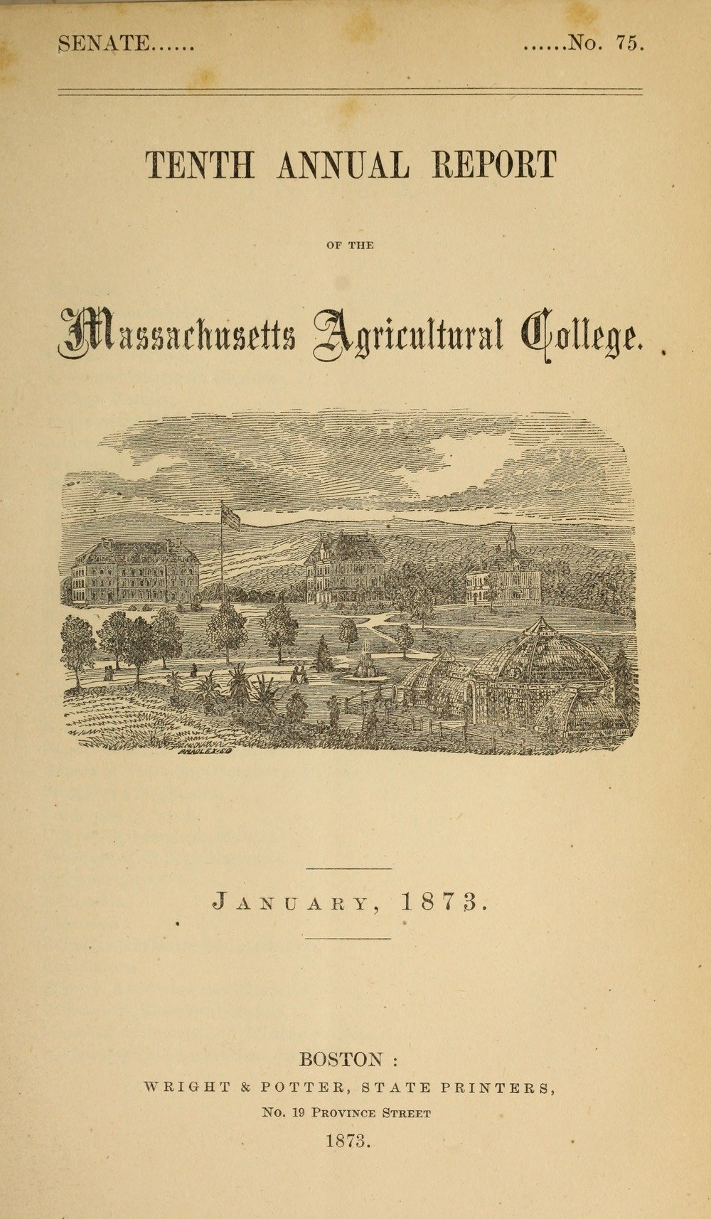Tenth Annual Report; includes reports on agricultural experiments, the Botanic Garden, College departments, sugar beet machinery, the library and museum, 1873.