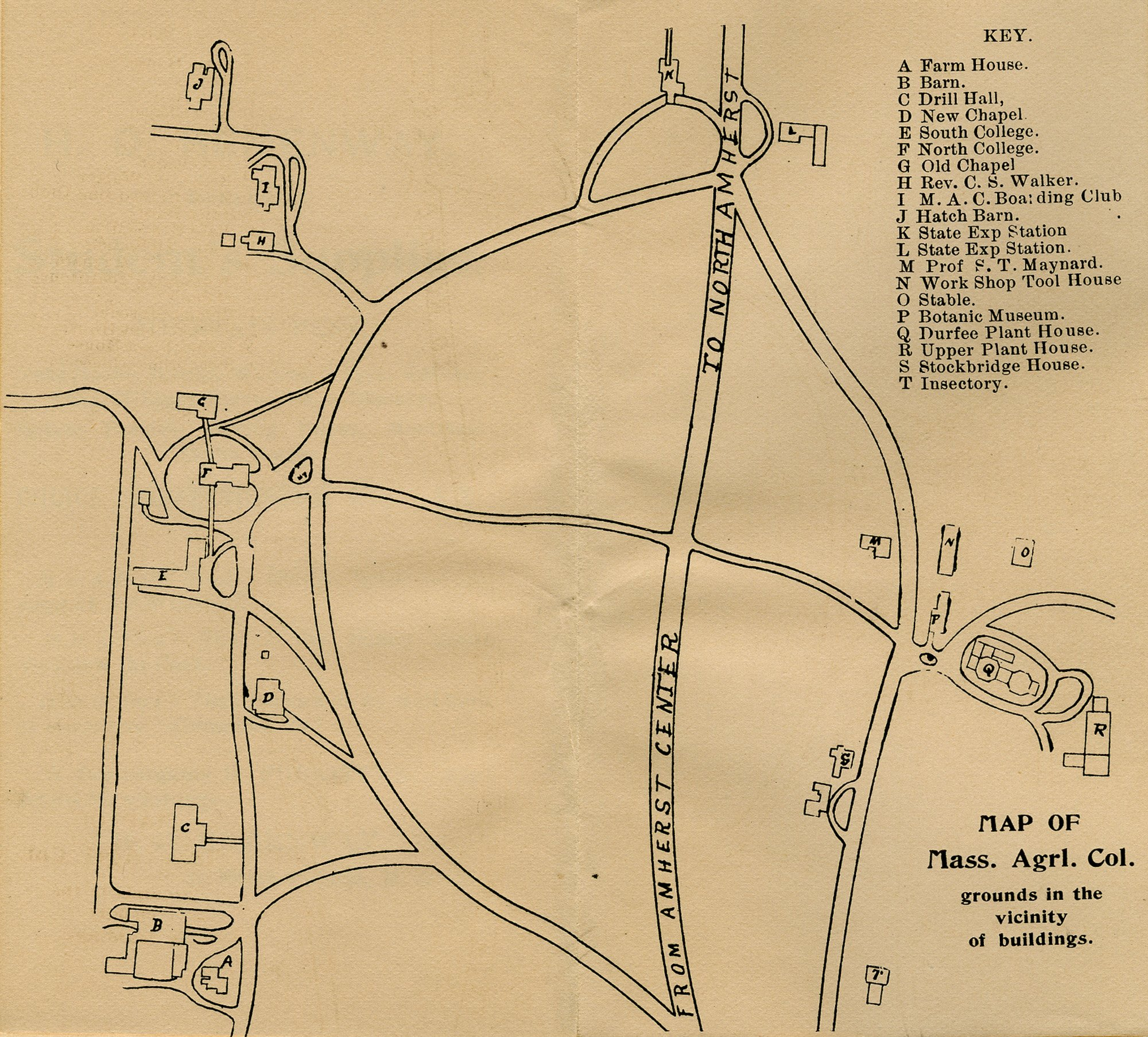 M.A.C. campus map (From the Student's Handbook, 1893-1894), 1893.