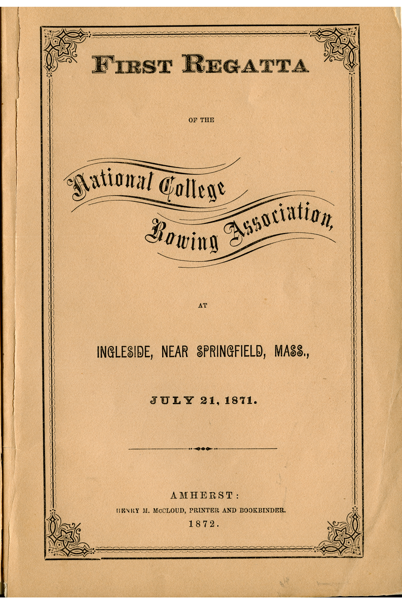 Account of the victory of the Massachusetts Agricultural College crew over Harvard, Yale, and Brown.