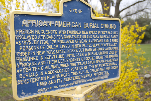 The historic marker identifying the African American burial ground