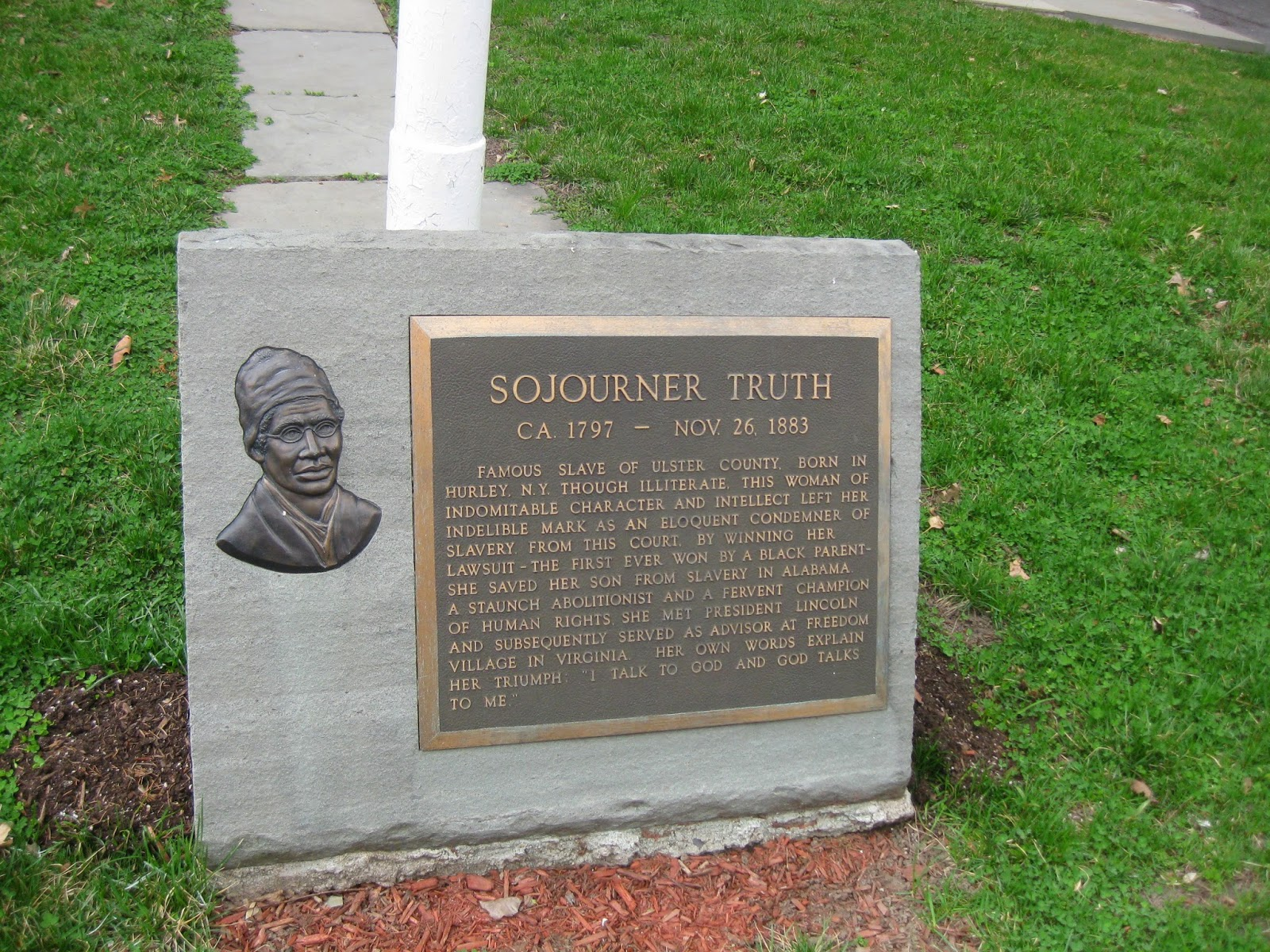 The Sojourner Truth memorial outside the Ulster County Courthouse