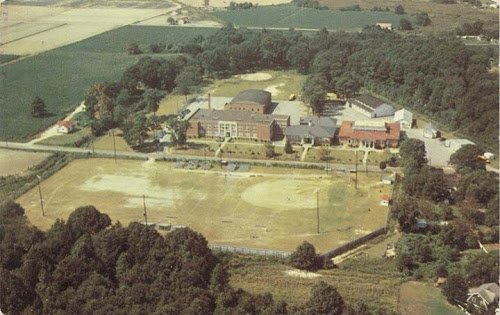 An aerial shot of the whole complex. Pictured to the far left is the 1941 Kempsville High School Building. The other two are of the old Kempsville High School and Grammar School Building.