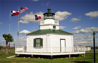 Halfmoon Reef Lighthouse as it stands today near the Bauer Community Center in Port Lavaca, Texas.