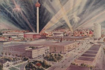 Photograph of painting by Warren Hunter of HemisFair site