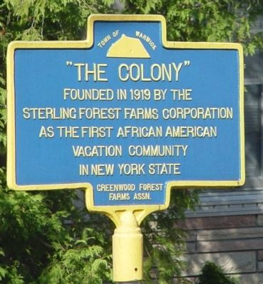 """Historical marker recognizing """"The Colony"""""""