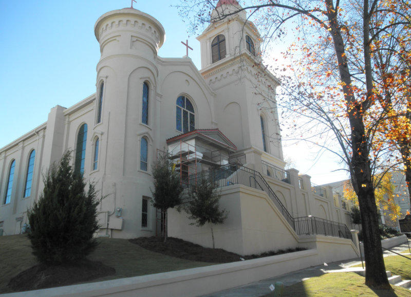 Exterior front elevation, St. Peter Church, Montgomery, AL.