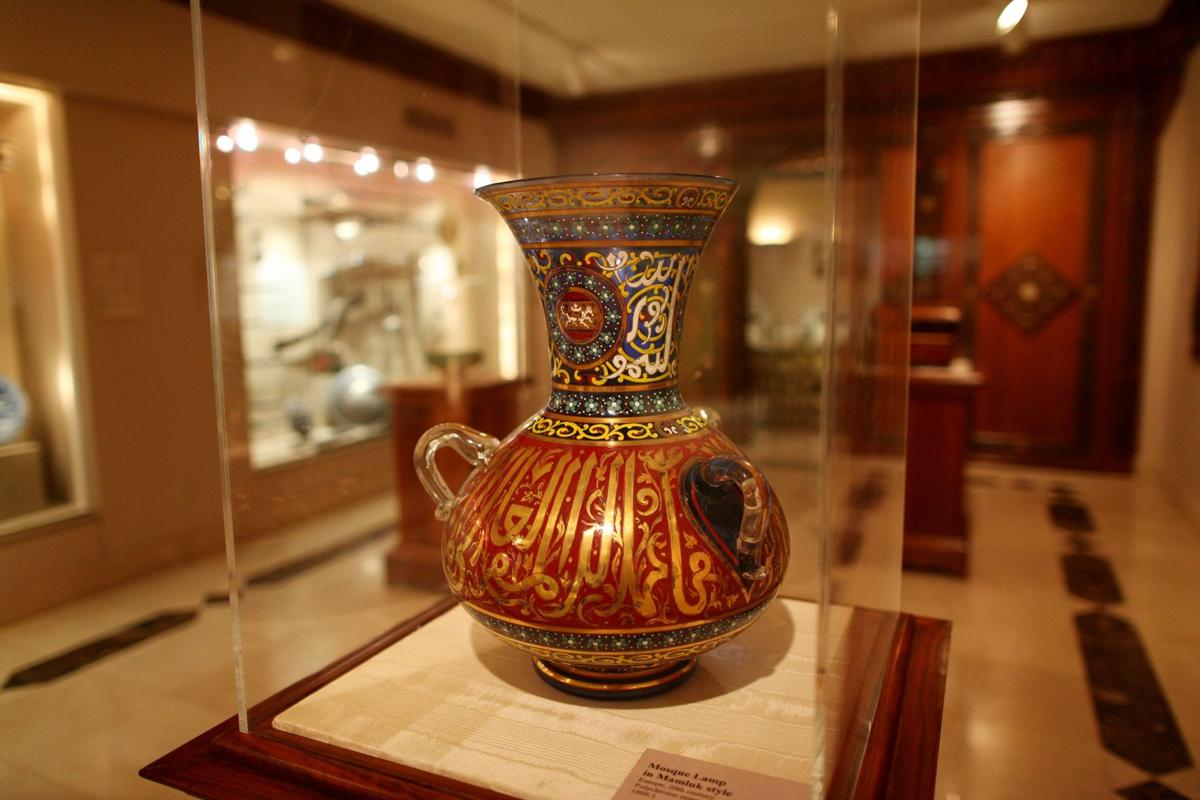 A mosque lamp at the Touma Gallery