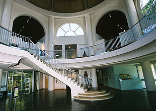 The interior lobby of the museum connects to each of the galleries and exhibit spaces.