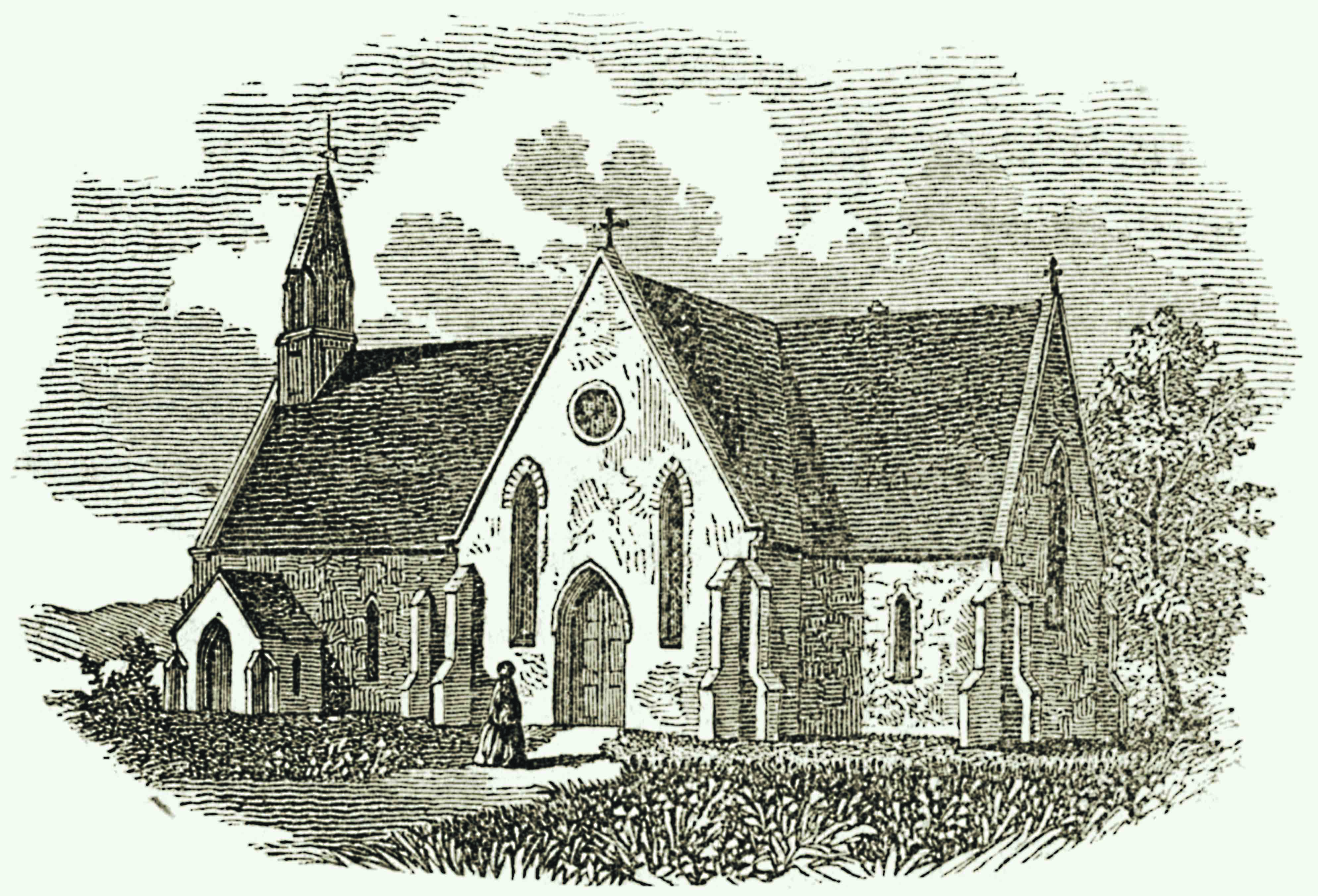 Engraving of St. Mary's Episcopal Church, 1853.