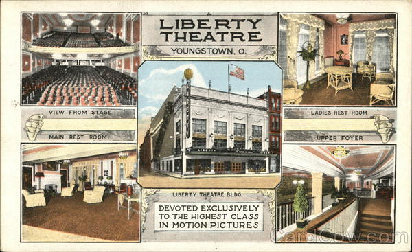 A postcard depicting the Liberty Theater circa 1918.
