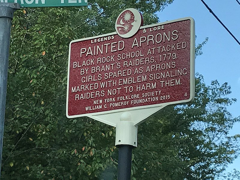 Historic marker at the site of the Painted Aprons attack