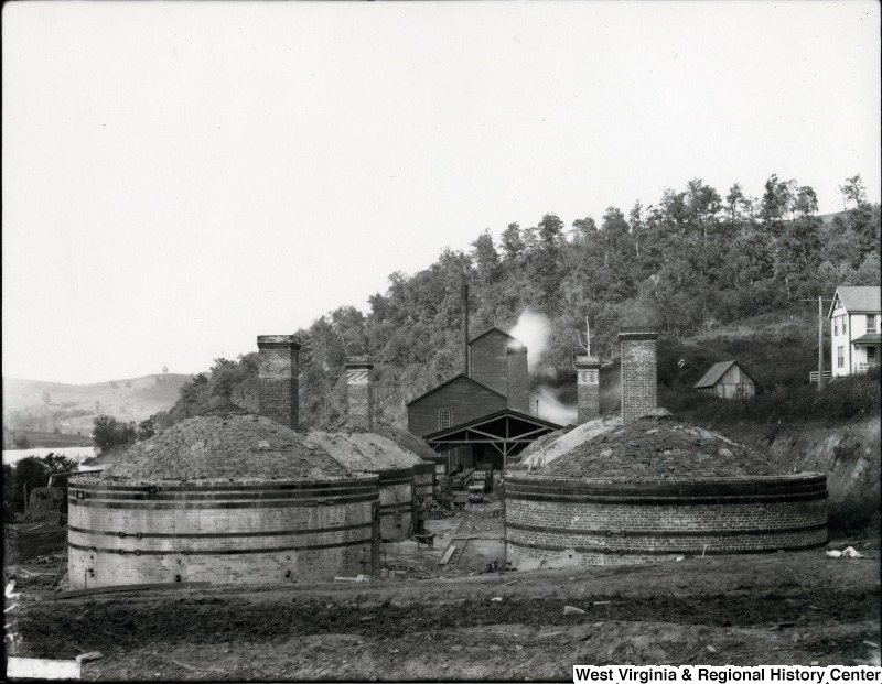 The brickworks at Seneca could produce 28,000 bricks per day, which were fired in these six beehive-shaped kilns. Photo courtesy of West Virginia and Regional History Center, WVU Libraries.