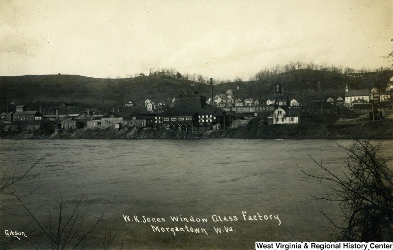 Located on the Monongahela River and near the B&O Railroad, the W. R. Jones Glass factory utilized Sunnyside's transportation methods to bring in raw materials and ship out finished products.West Virginia and Regional History Center, WVU Libraries