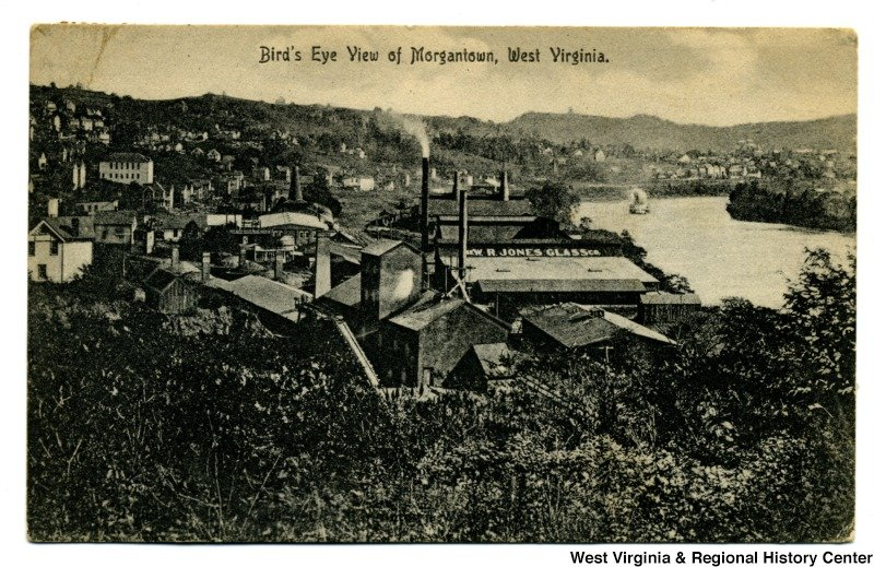 The W. R. Jones Glass Company was a major manufacturer of window glass, a branch of the glass industry that mechanized early on. Postcard courtesy of the West Virginia and Regional History Center, WVU Libraries.