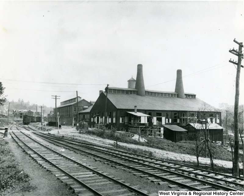 The Morgantown Glass factory was conveniently located along the railroad and river, which provided the company was easy transportation. West Virginia and Regional History Center, WVU Libraries.