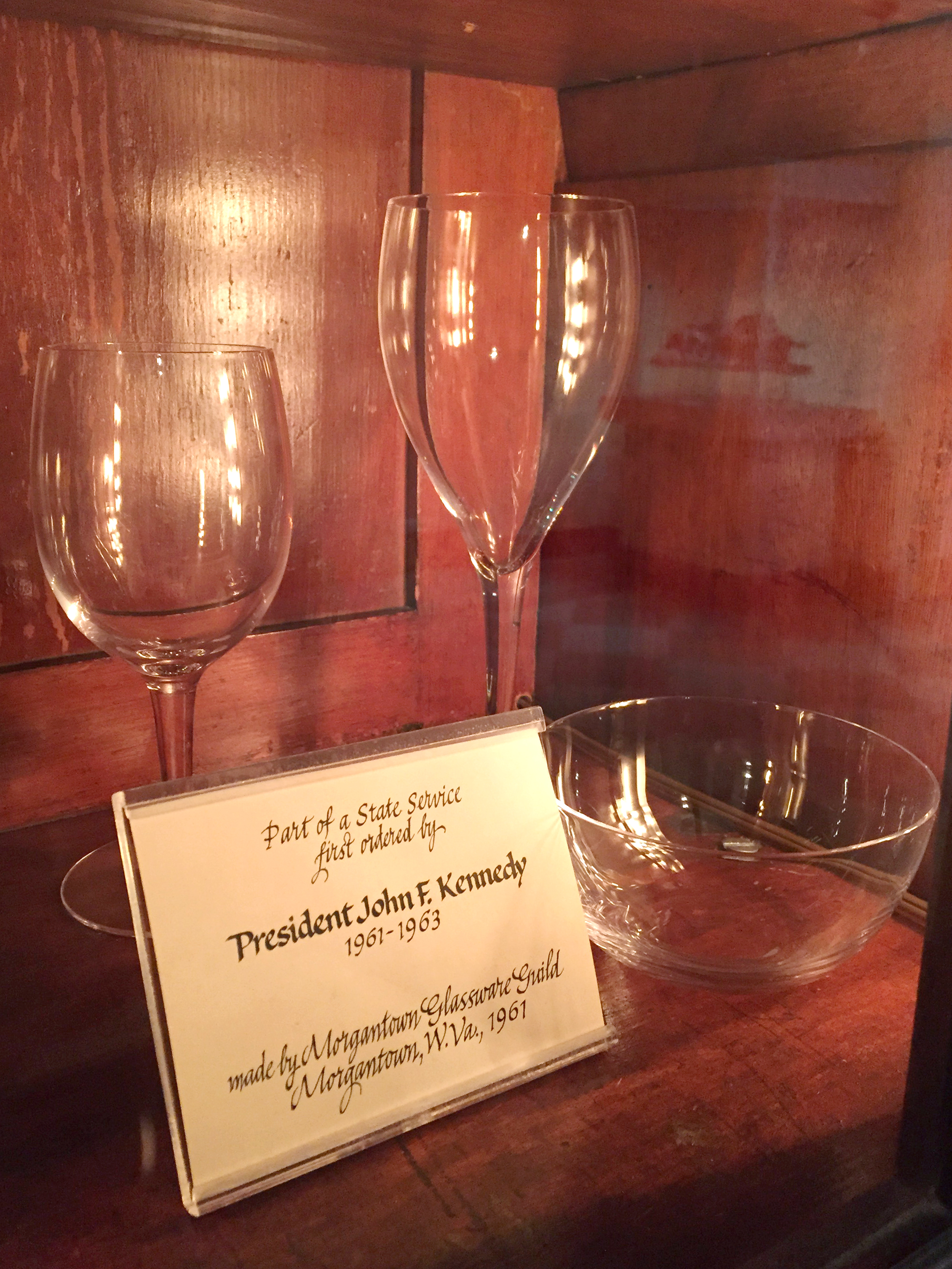 Jacqueline Kennedy selected this style of glassware produced by Morgantown Glassware Guild as the official White House crystal. Photo by Pamela Curtin.