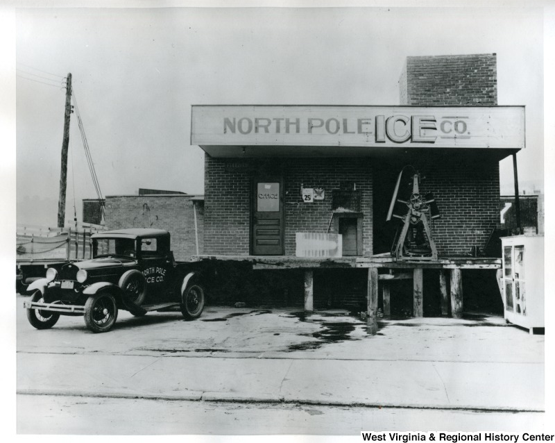 The Morgantown Ice Company, established in 1901, was sold to the North Pole Ice Company in 1946. The building complex was later purchased by Chico's Dairy and then demolished to make way for State on Campus. West Virginia and Regional History Center.