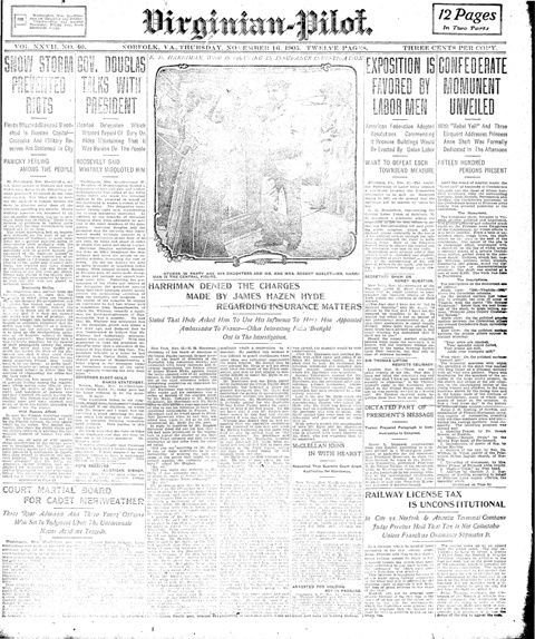 The top right article of the Virginia Pilot details the unveiling of the Confederate Monumeny in Princess Anne County.